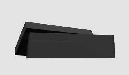 3d rendering black blank slightly open box with lid, isolated light gray background side view 版權商用圖片 - 81214465
