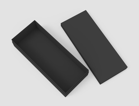 3d rendering black right tilt blank open box with lid on the ground, isolated light gray background top view 版權商用圖片