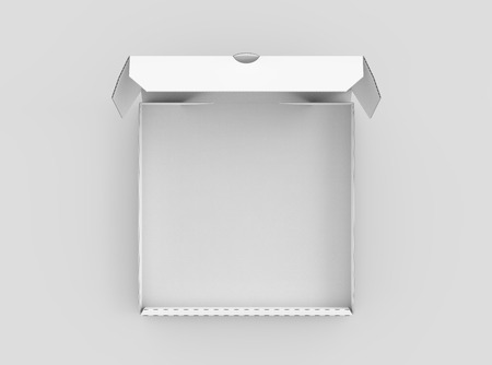 3d rendering white blank open pizza box, isolated light gray background top view