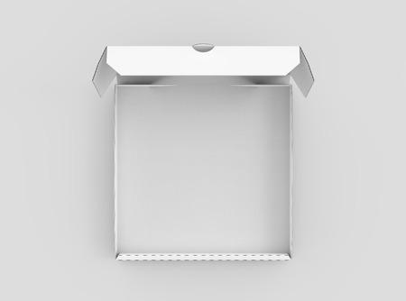 Offener Pizzakasten der weißen Wiedergabe des Weißfreien raumes 3d, lokalisierte Draufsicht des hellgrauen Hintergrundes Standard-Bild - 81172425