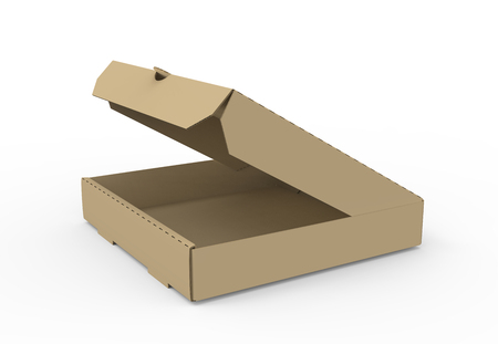 3d rendering left tilt open blank brown pizza box, isolated white background, side view