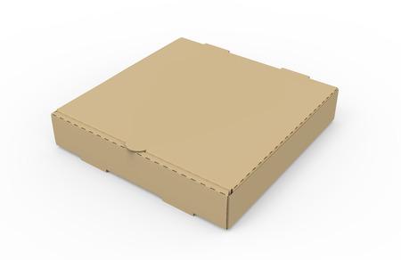 Scatola di pizza marrone in bianco chiusa inclinazione sinistra di rappresentazione 3d, fondo bianco isolato, vista elevata Archivio Fotografico - 81214470