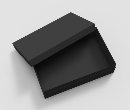 3d rendering left tilt black blank half open box with lid, isolated light gray background elevated view 版權商用圖片