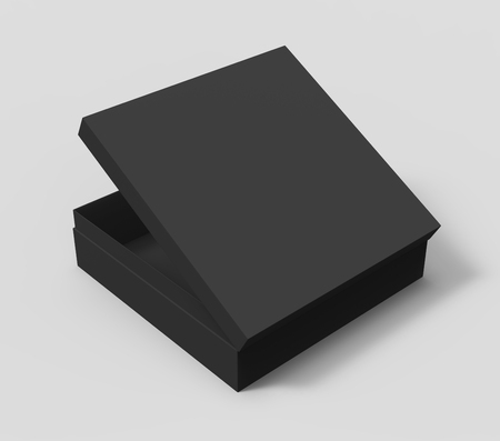 opening black blank spun paper box with lid, isolated gray background, 3d rendering elevated view 版權商用圖片