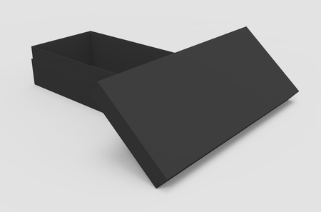 3d rendering black blank half open box and lid, placed in T shape, isolated light gray background elevated view 版權商用圖片