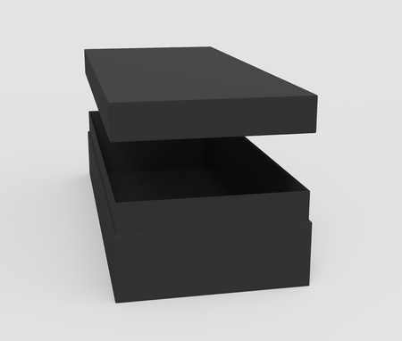 3d rendering black right tilt blank slightly open box with floating lid, isolated light gray background elevated view 版權商用圖片