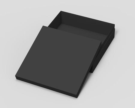 contain: black blank paper open box with lid, isolated gray background, 3d rendering elevated view Stock Photo