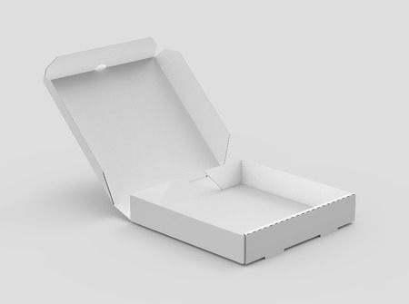 3d rendering white blank right tilt open pizza box, isolated light gray background elevated view