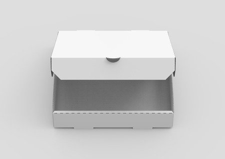 contain: 3d rendering white blank half open pizza box, isolated light gray background elevated view Stock Photo