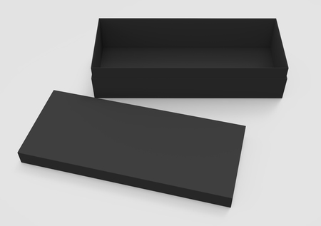 3d rendering black blank open box with right tilt lid on the ground, isolated light gray background elevated view