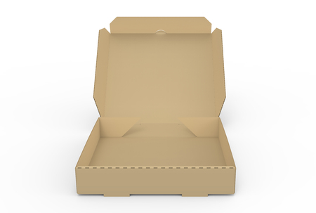 contain: 3d rendering open blank brown pizza box, isolated white background, elevated view  Stock Photo