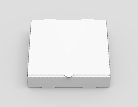 3d rendering white blank closed pizza box, isolated light gray background elevated view