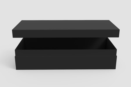3d rendering black blank slightly open box with floating lid, isolated light gray background elevated view 版權商用圖片