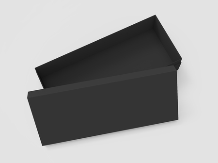 contain: 3d rendering left tilt black blank half open box with lid, isolated light gray background top view Stock Photo