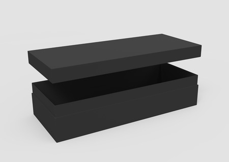 3d rendering left tilt black blank slightly open box with floating lid, isolated light gray background elevated view 版權商用圖片