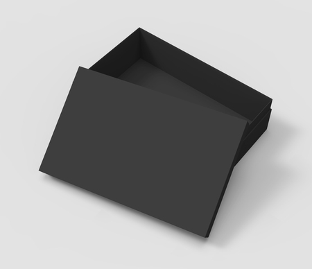 3d rendering black right tilt blank half open box with lid, isolated light gray background elevated view 版權商用圖片