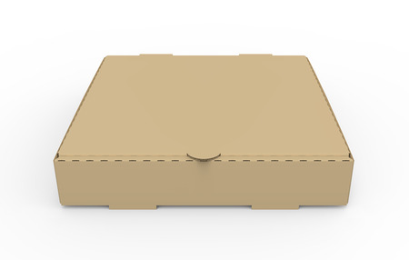 3d rendering closed blank brown pizza box, isolated white background, elevated view 版權商用圖片