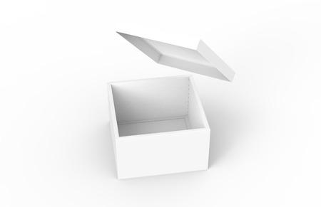 contain: blank left tilt 3d rendering open box with floating separate lid, isolated white background elevated view