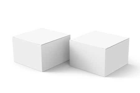 contain: two 3d rendering closed white blank boxes for design uses, isolated white background elevated view Stock Photo