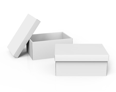 two 3d rendering blank white paper boxes, one open, with a leaning separate lid for design use, isolated white background, elevated view 写真素材