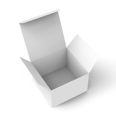 3d rendering right tilt open white blank box for design uses, isolated white background elevated view