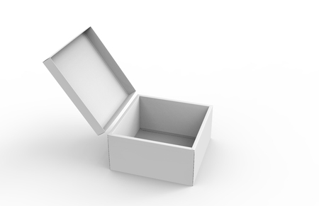 blank right tilt 3d rendering open box for stage prop use, isolated white background elevated view Stock Photo