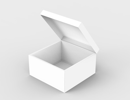 contain: blank left tilt 3d rendering half open box for stage prop use, isolated light gray background elevated view