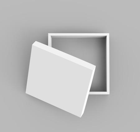lege platte 3D-rendering half open witte vierkante doos met afzonderlijke deksel, geïsoleerde grijze achtergrond bovenaanzicht