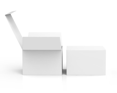 two 3d rendering white blank boxes for design uses, one right tilt and open, isolated white background side view 版權商用圖片