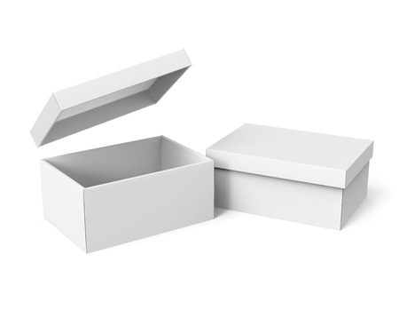 contain: two tilt 3d rendering blank white paper boxes, one open with a floating separate lid, for design use, isolated white background, elevated view