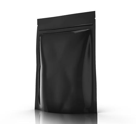 zwart recht kantelen lege 3D-rendering lege rits etui voor ontwerp element gebruik, geïsoleerde witte achtergrond zijaanzicht