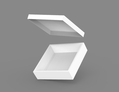 contain: blank left tilt open flat 3d rendering slanting white square box with floating lid, isolated dark gray background side view