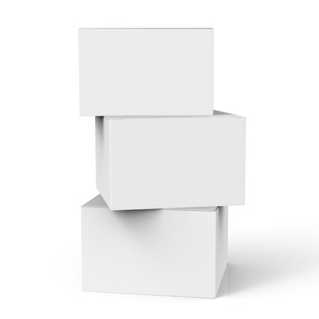 three 3d rendering closed white blank boxes for design uses, isolated white background side view 版權商用圖片