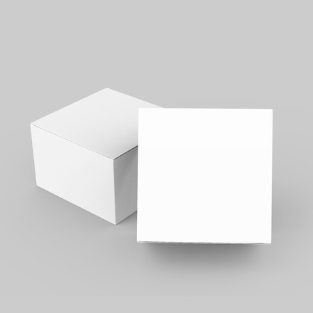 two 3d rendering closed white blank boxes, one leaning on another, for design uses,  isolated gray background elevated view 版權商用圖片