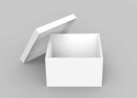 blank 3d rendering open box with leaning separate lid, isolated light gray background elevated view