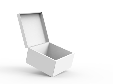 blank right tilt 3d rendering open box for stage prop use, isolated white background elevated view Stok Fotoğraf