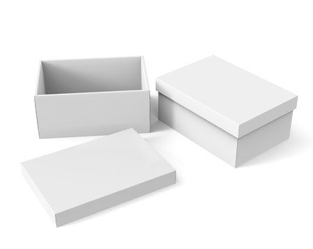 two tilt 3d rendering blank white paper boxes, one open, with a separate lid on the ground for design use, isolated white background, elevated view