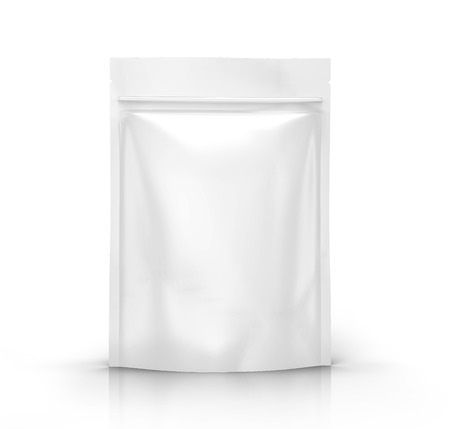 white blank 3d rendering zipper pouch for design element use, isolated white background side view 版權商用圖片