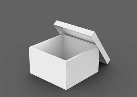 blank 3d rendering left tilt open box with leaning separate lid, isolated dark gray background elevated view