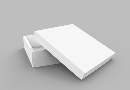 contain: blank flat 3d rendering spun slightly open white blank square box with separate lid, isolated gray background elevated view