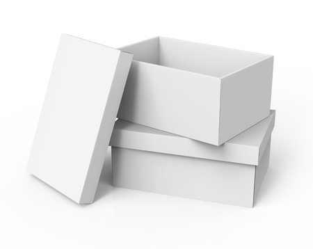 contain: two stacking right tilt 3d rendering blank white paper boxes, one open, with a leaning separate lid for design use, isolated white background, elevated view