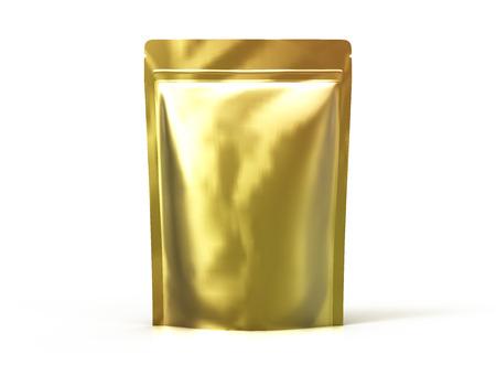 空白の 3 d レンダリング デザイン要素の黄金の大まかなジッパー袋を使用して、分離ホワイト バック グラウンド側ビュー 写真素材
