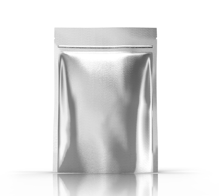 blank 3d rendering silver zipper pouch for design element use, isolated white background side view