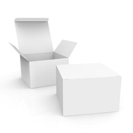 3d rendering right tilt open white blank box behind a closed one, for design uses, isolated white background elevated view