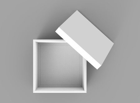 contain: blank 3d rendering open box with leaning separate lid, isolated gray background top view