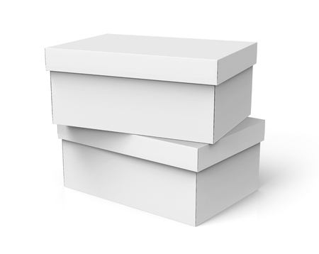 two stacking right tilt 3d rendering blank white paper closed boxes for design use, isolated white background, elevated view