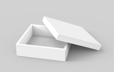 contain: blank flat 3d rendering half open spun white square box with separate lid, isolated light gray background elevated view Stock Photo
