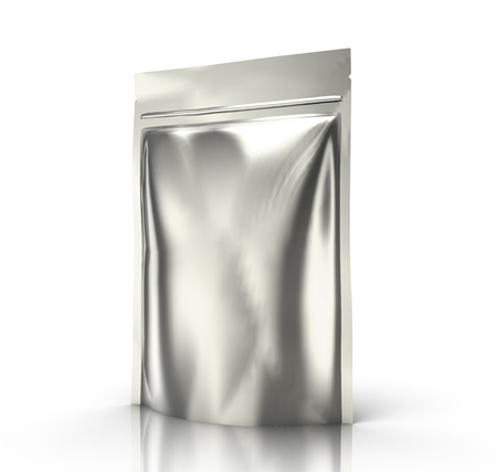 contain: right tilt blank 3d rendering blank silver zipper pouch for design element use, isolated white background side view Stock Photo