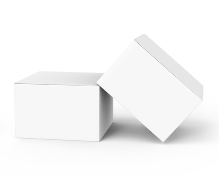 two 3d rendering closed white blank boxes, one leaning on another, for design uses,  isolated white background elevated view