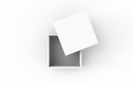 contain: blank flat square 3d rendering half open white box, isolated white background top view